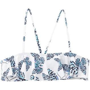 Girls Tops Printed - Butterflies Crop top with large frill, Azure front