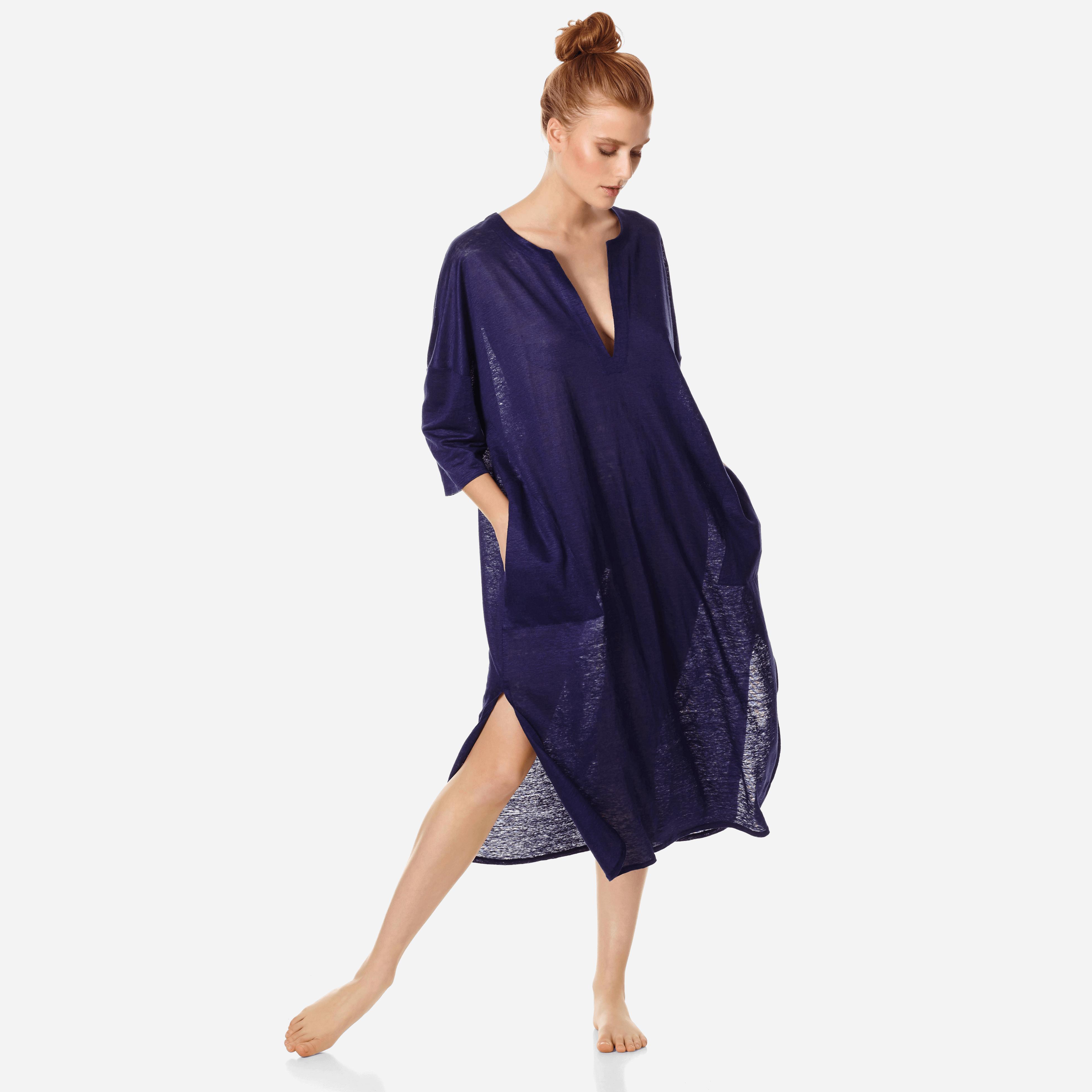 PRET A PORTER FEMME - Robe tunique Longue en jersey de lin Femme unie - COVER-UP - FARLINE - Bleu -