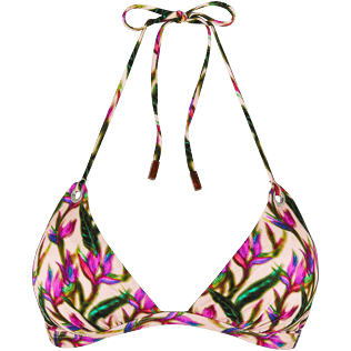 Women Triangle Printed - Women Triangle Bikini Top Mini Paradise 3D, Nude front
