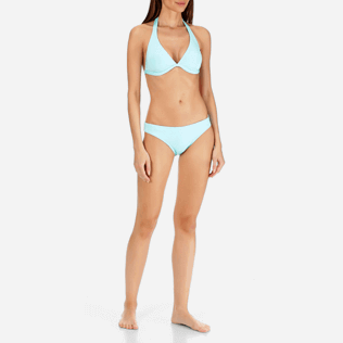 Women Bottoms Solid - Women High cut Bikini Bottom Solid Water, Lagoon frontworn