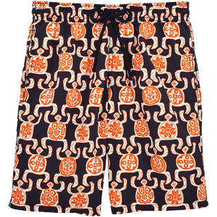 Men Long Printed - Primitive Turtles Long Cut Swim shorts, Navy front