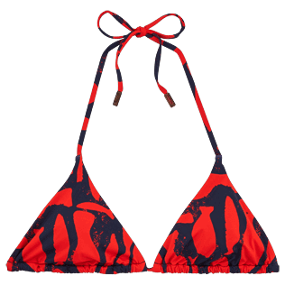 Women Tops Printed - Silex Fishes Triangle shape bikini top, Poppy red front