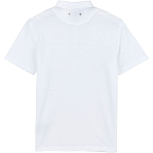 Men Others Solid - Men Linen Jersey Polo Shirt Solid, White back