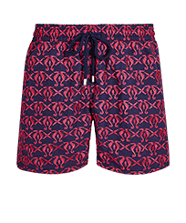 Men Classic Embroidered - Men Swimwear Embroidered Hippocampes - Limited Edition, Midnight blue front