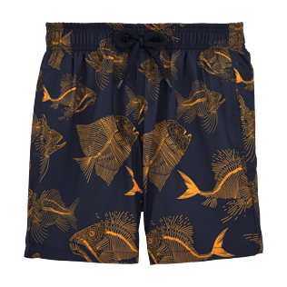 Boys Classic / Moorea Printed - Prehistoric Fish Lightweight Packable Swim Shorts, Navy front