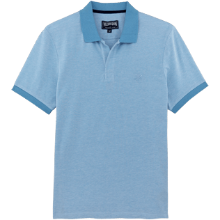 Men Others Solid - Men Cotton Pique Polo shirt Solid, Sky blue front