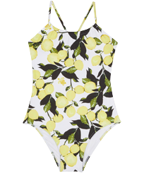 Girls Others Printed - Girls One-piece Swimsuit Lemons, White front