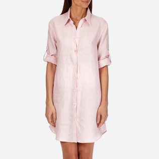 Women Others Solid - Women Long Linen Shirt Solid, Peony supp3