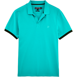 Men Polos Solid - Cotton pique polo, Veronese green front