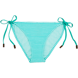 Women Bottoms Graphic - Striped Terry Bikini brief, Lagoon front