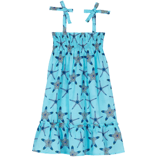 Girls Others Printed - Girls Cotton Voile Dress Starfish Dance, Lazulii blue front