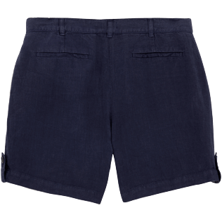 Women Others Solid - Solid Linen Bermuda shorts, Navy back