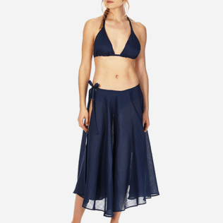 Women Others Solid - Women Long Linen Voile Pareo Skirt Solid, Navy supp1