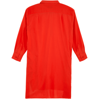 Women Dresses Solid - Solid dress shirt, Poppy red back
