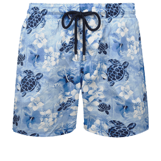 男款 Ultra-light classique 印制 - Men Swimwear Ultra-light and packable Turtle Jungle, Batik blue front