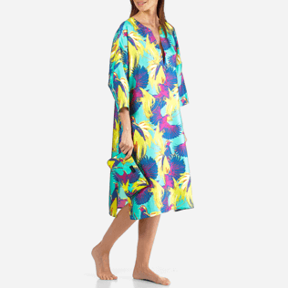 Women Others Printed - Women Long Twill Silk Tunic Dress Birds of Paradise, Veronese green supp3
