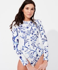Women Others Printed - Women Rashguard Long Sleeves One-piece Swimsuit Cherry Blossom, Sea blue frontworn