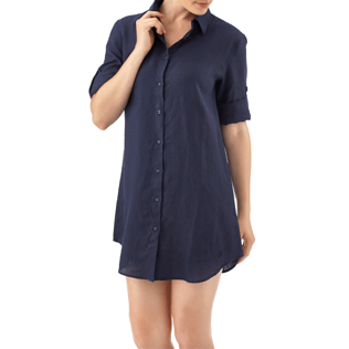 Women Shirts Solid - Long linen shirt, Navy supp2