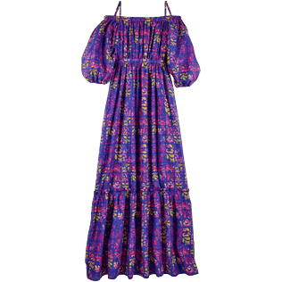 Women Others Printed - Women Off-the-shoulder cotton long Dress Phuket, Sea blue front