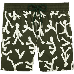 Men Stretch classic Printed - Danse du Feu Glow in the Dark Superflex Swim shorts, Olive front