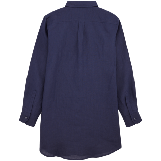 Women Shirts Solid - Long linen shirt, Navy back