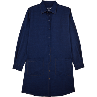 Women Dresses Solid - Indigo Long Linen Shirt, Indigo front