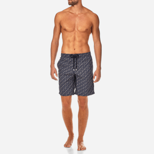 Men Long classic Printed - Micro Ronde des Tortues Long Cut Swim shorts, Navy frontworn
