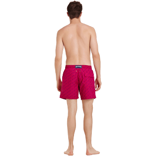 Men Classic Printed - Men Swim Trunks Micro ronde des tortues, Gooseberry red backworn