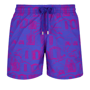 Men Classic Printed - Men Swimwear Cabines de plage, Royal blue front