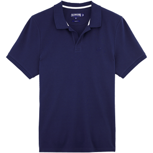 Men Polos Solid - Solid Cotton pique polo, Navy front
