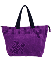 Others Solid - Big terry cloth Beach Bag Jacquard Solid, Orchid front