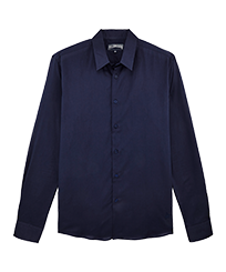 Men Others Solid - Unisex cotton voile Shirt Solid, Navy front