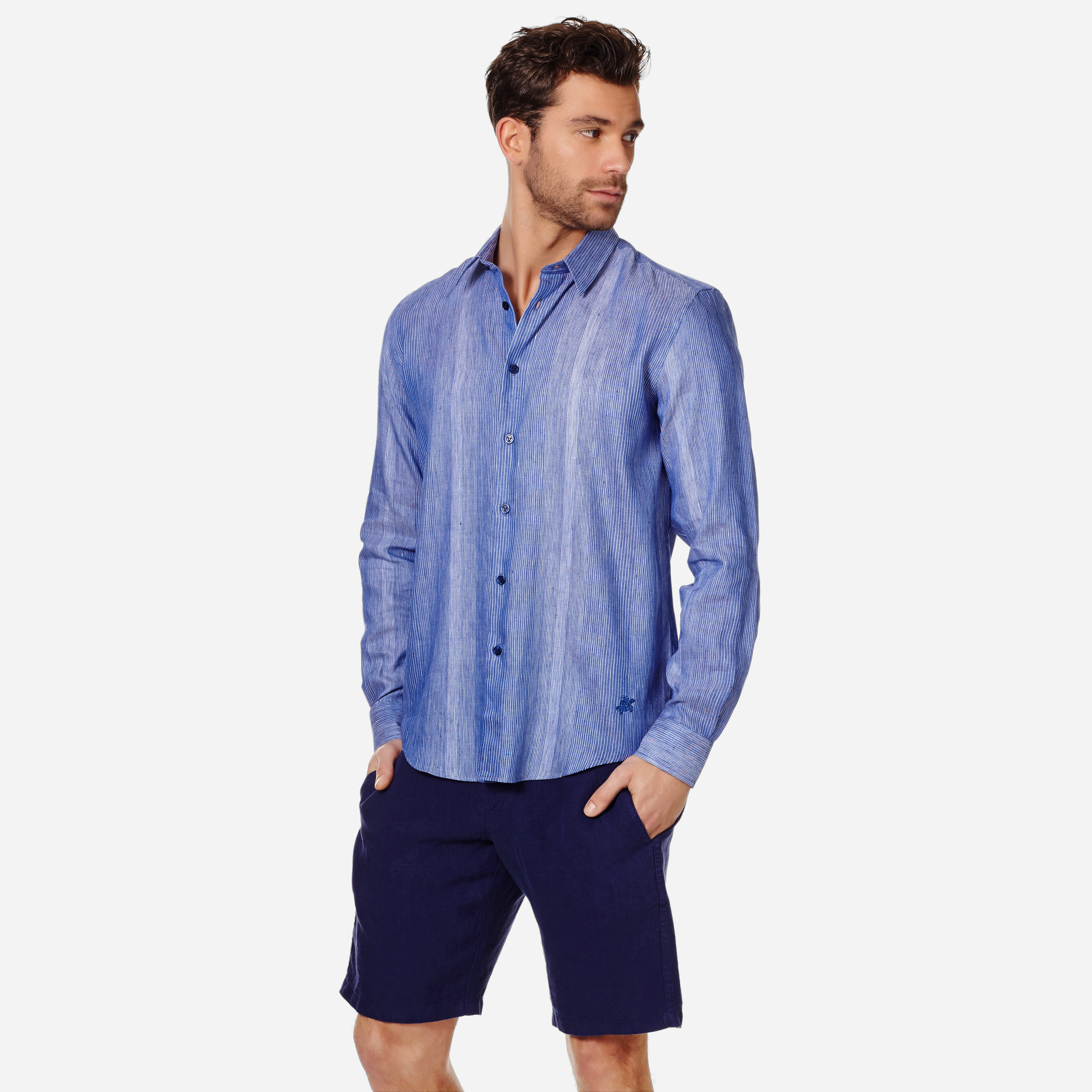 Vilebrequin Caracal Striped Linen And Cotton-Blend Sihrt In Blue