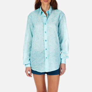 Shirts Printed - Unisex Cotton Voile Shirt Hypnotic Turtles, Lagoon supp4