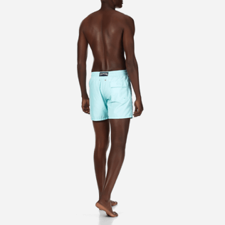 Men Classic / Moorea Embroidered - Men Swimtrunks Placed Embroidery Mosaic Turtles, Lagoon backworn