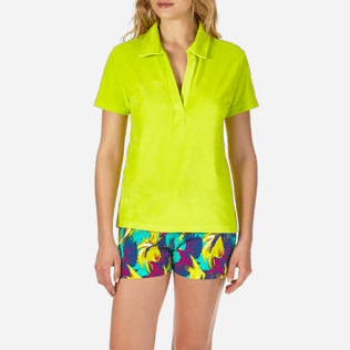 Women Others Solid - Women Terry Cloth Polo shirt Solid, Chartreuse supp1