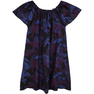 Women Dresses Printed - Camouflage Turtles Shoulder Game Dress, Plum back