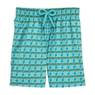 Boys Classic / Moorea Printed - Les 4 Élements Lightweight Packable Swim Shorts, Lagoon front