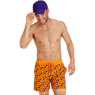 Men Classic Printed - Men Swimtrunks Flocked  Micro ronde des tortues, Safran supp3