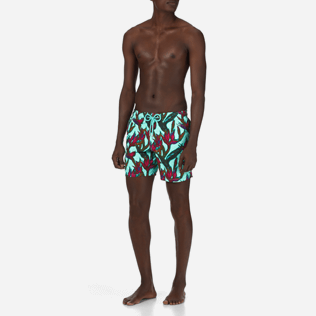 Men Classic Printed - Men Swimtrunks Paradise 3D, Lagoon frontworn