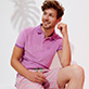 Men Others Solid - Men Terry Cloth Polo Shirt Solid, Pink berries frontworn