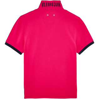 Men Others Solid - Men Cotton Pique Polo shirt Solid, Shocking pink back