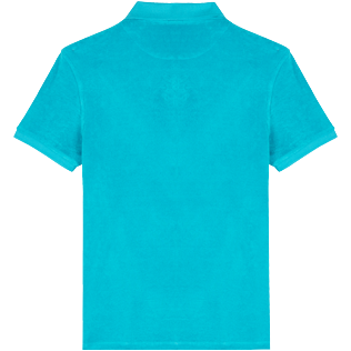 Men 111 Solid - Men Terry cloth Polo Shirt Solid, Light azure back