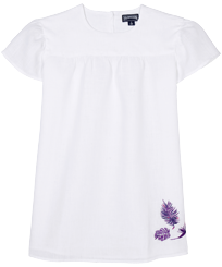 Girls Others Embroidered - Girls Linen Dress Madrague, White front