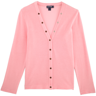Women 009 Solid - Women Terry Cloth Cardigan Sweaters Solid, Peony front