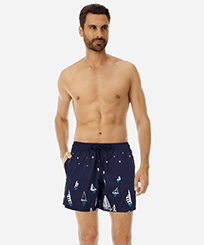 Men 017 Embroidered - Men Embroidered swimwear Porto Cervo - Limited Edition, Navy frontworn
