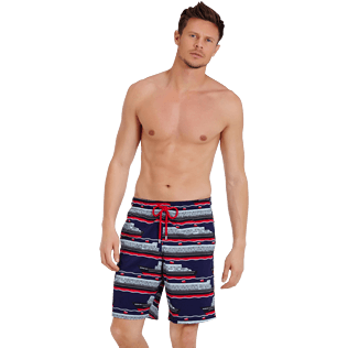 Men Long classic Printed - Men Swimtrunks Long Stretch VBQ Cruise Lines, Midnight blue frontworn