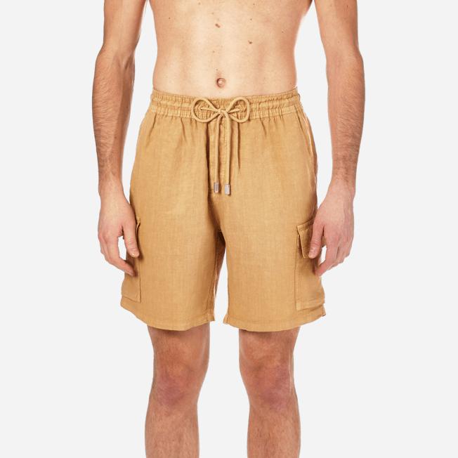 Vilebrequin - Bermudas lisas de lino con bolsillos de fuelle - 5