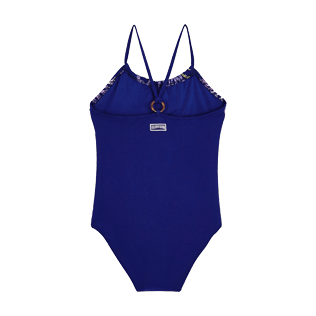Girls Others Embroidered - Girls One Piece Swimsuit Coral and Turtles, Midnight blue back