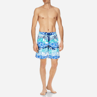 Men Long classic Printed - Men Long Swimtrunks Vague Heritage, Navy frontworn